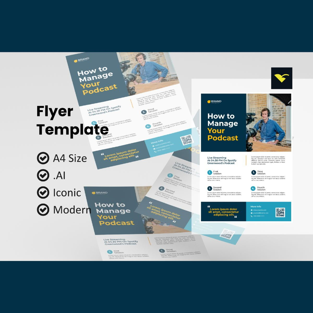 How to manage your podcast flyer template, 08973, Art & Entertainment — PoweredTemplate.com