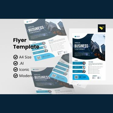 Business: Annual conference 2021 flyer template #08974