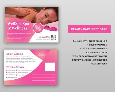 Business: Spa Beauty Care Services Postcard Template Design #08975