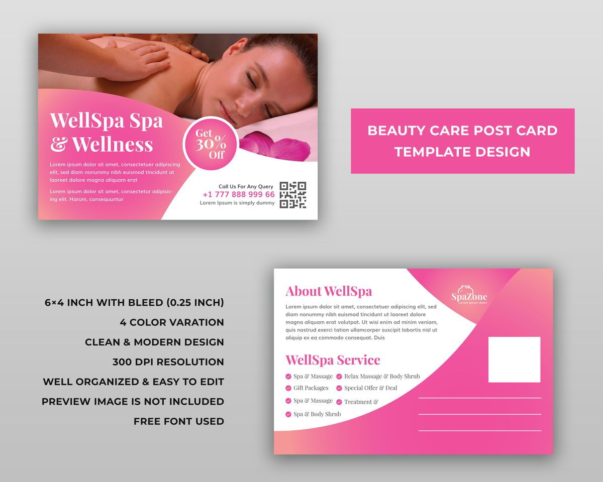 Spa Beauty Care Services Postcard Template Design, スライド 2, 08975, ビジネス — PoweredTemplate.com
