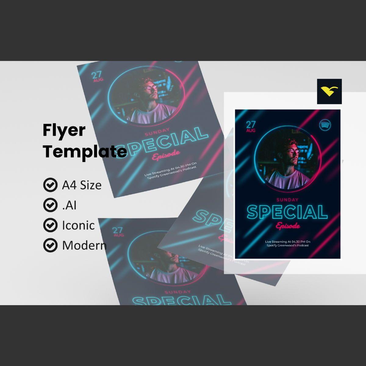 Special podcast promotion flyer template, 08976, Art & Entertainment — PoweredTemplate.com