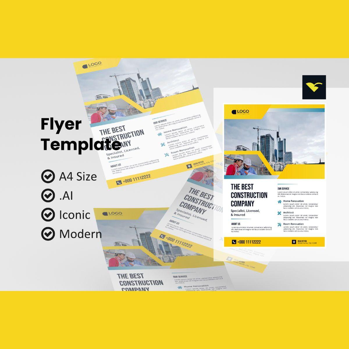 Business construction flyer template, 08980, Construction — PoweredTemplate.com