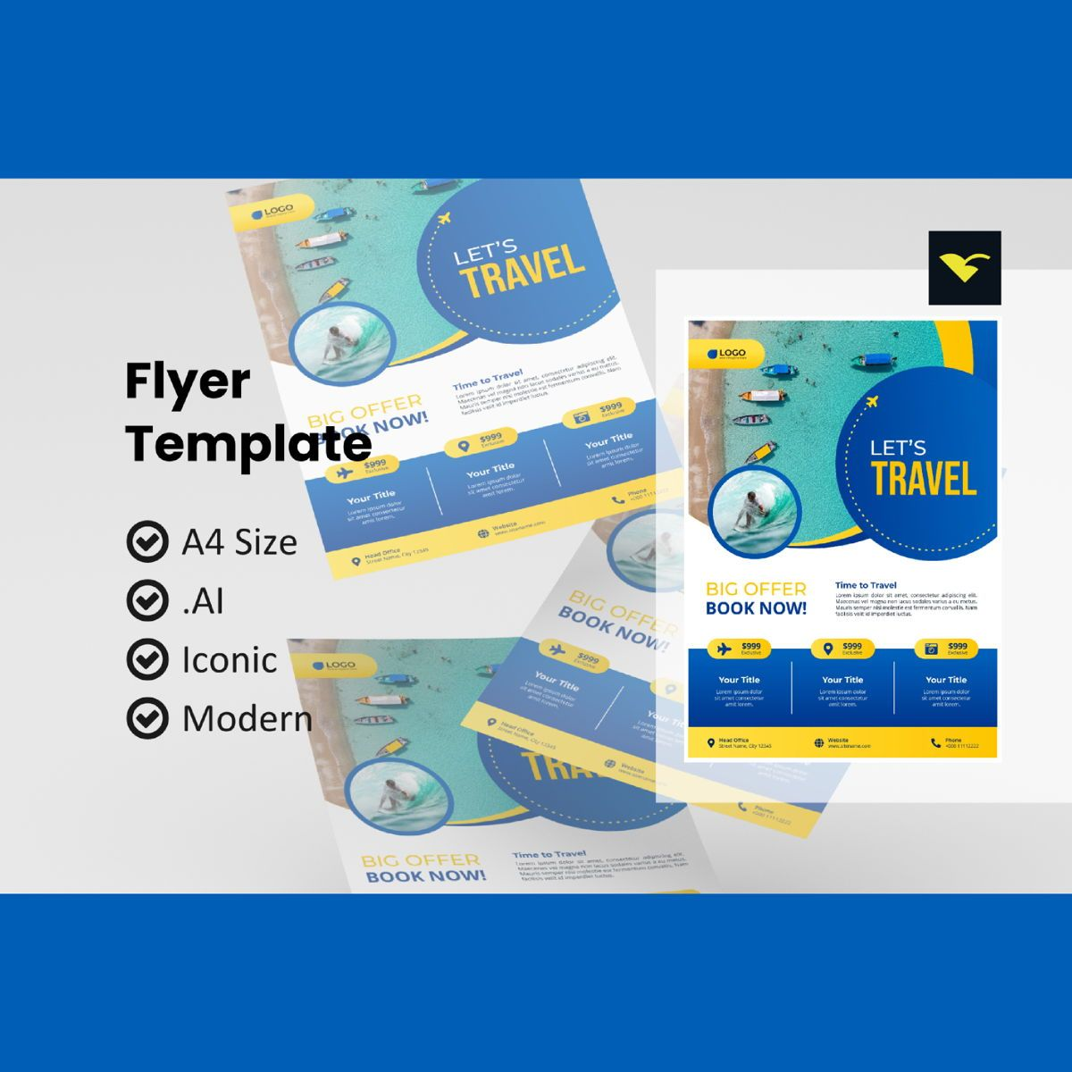 Traveling agency flyer template, 08981, Holiday/Special Occasion — PoweredTemplate.com