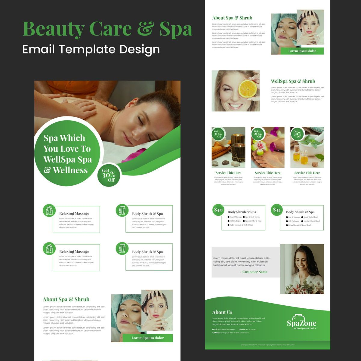 Beauty Care Spa Business Ad Newsletter Campaign Template, 08982, Business — PoweredTemplate.com