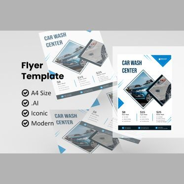 Cars/Transportation: Business car wash flyer template #08983