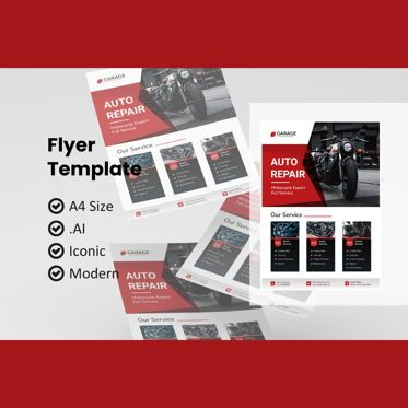 Cars/Transportation: Motorcycle service flyer template #08984