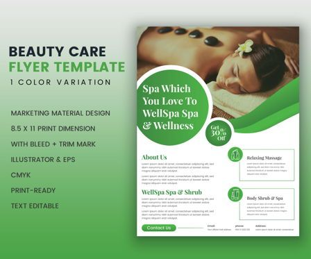 Art & Entertainment: Beauty Care Spa Services Promotional Flyer Template #08985