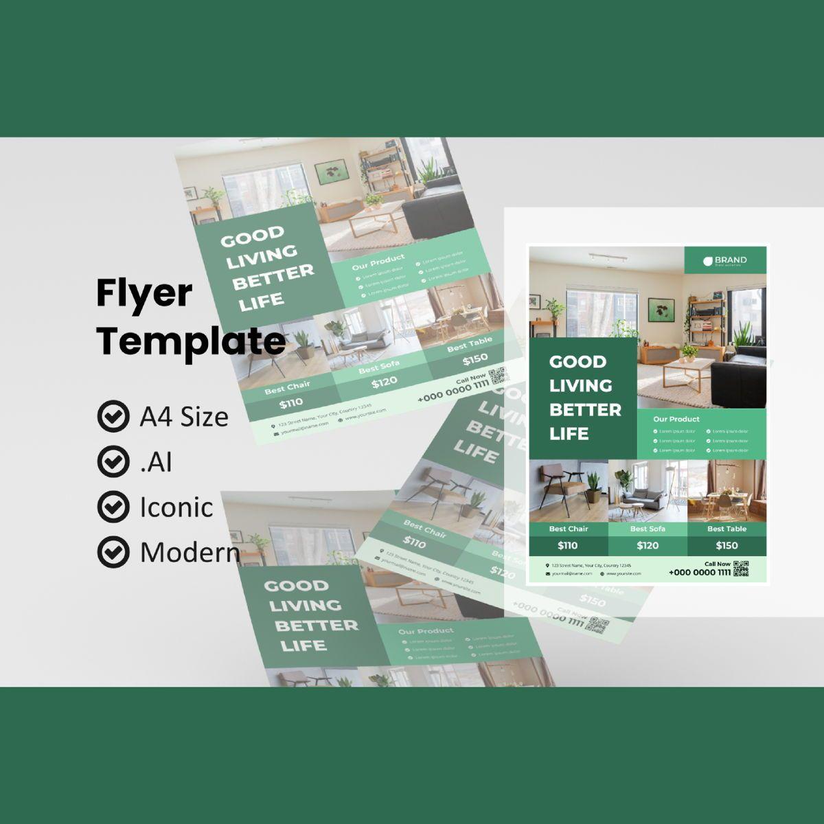Business furniture flyer template, 08988, Utilities/Industrial — PoweredTemplate.com