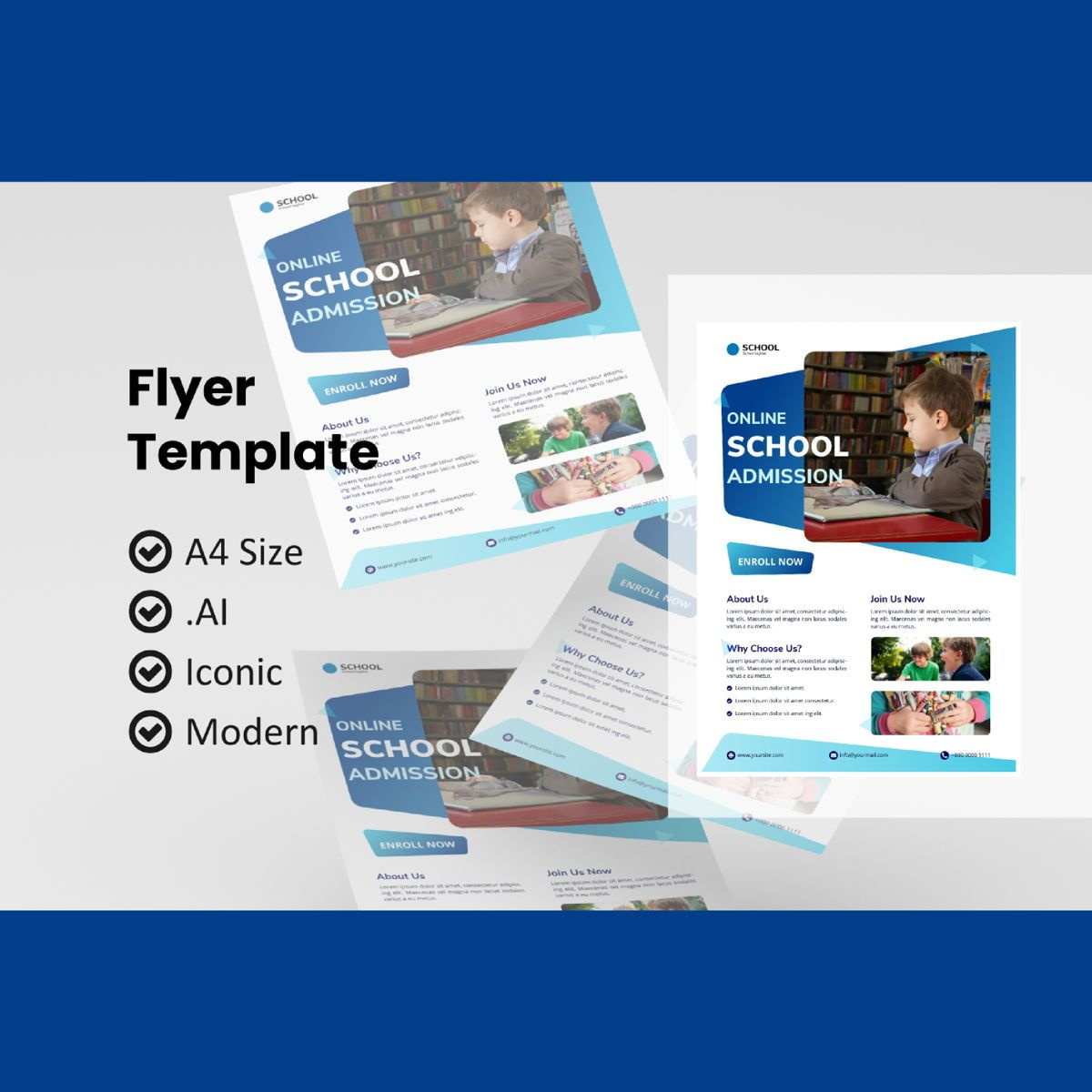 School online class flyer template, 08989, Education & Training — PoweredTemplate.com