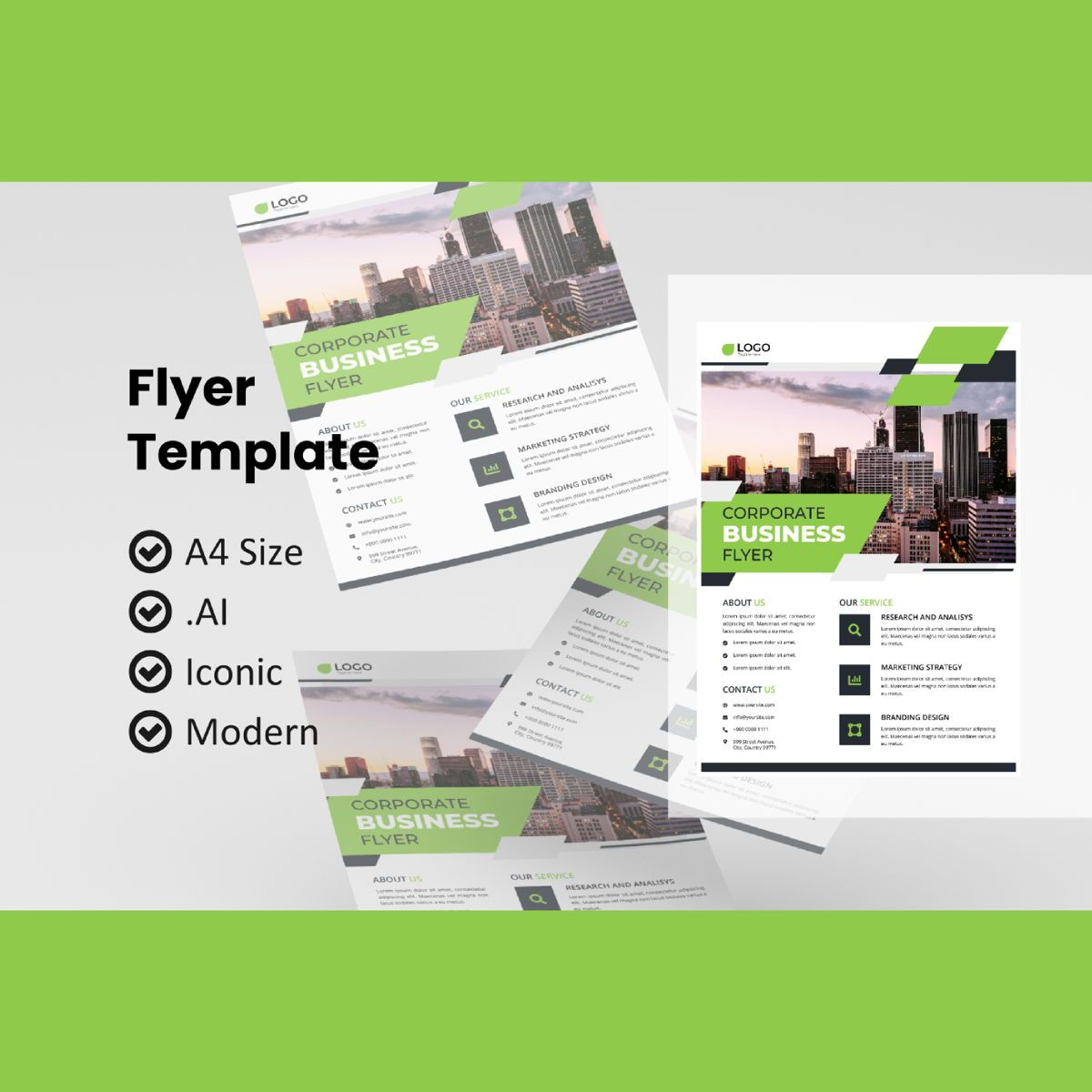 Corporate business flyer template, 08993, Business — PoweredTemplate.com