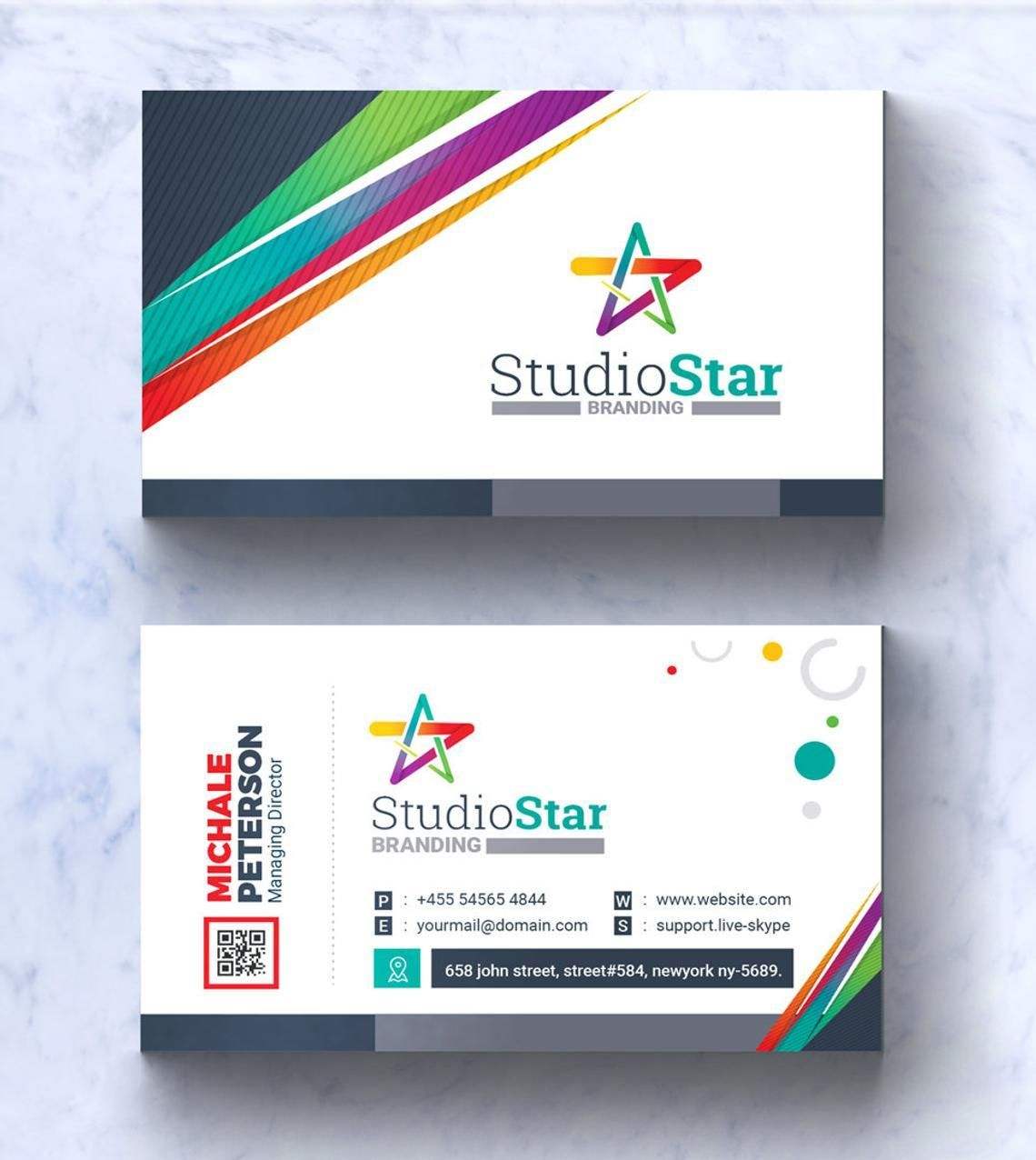 Studio Star Business Card Template, スライド 2, 08995, Art & Entertainment — PoweredTemplate.com