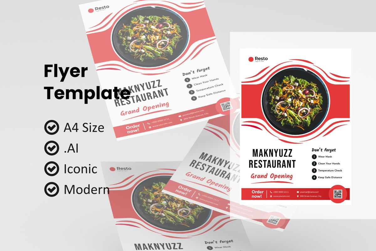 Pizza restaurant flyer template, 09000, Food & Beverage — PoweredTemplate.com
