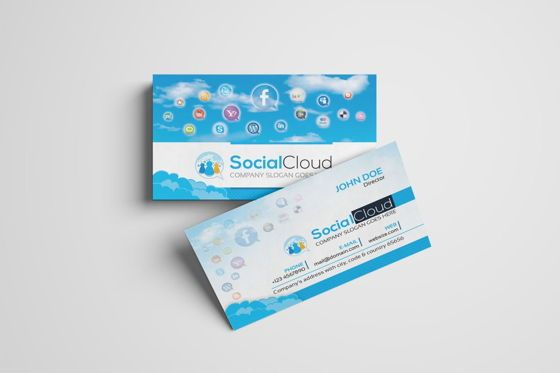 Careers/Industry: SocialCloud - Social Media Business Card Template #09001