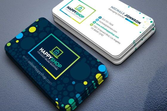 Business: HappyShop - Business Card Template for E-Commerce Shop #09004