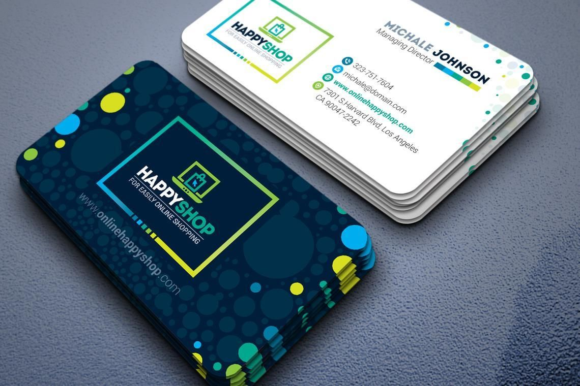 HappyShop - Business Card Template for E-Commerce Shop, 09004, Business — PoweredTemplate.com
