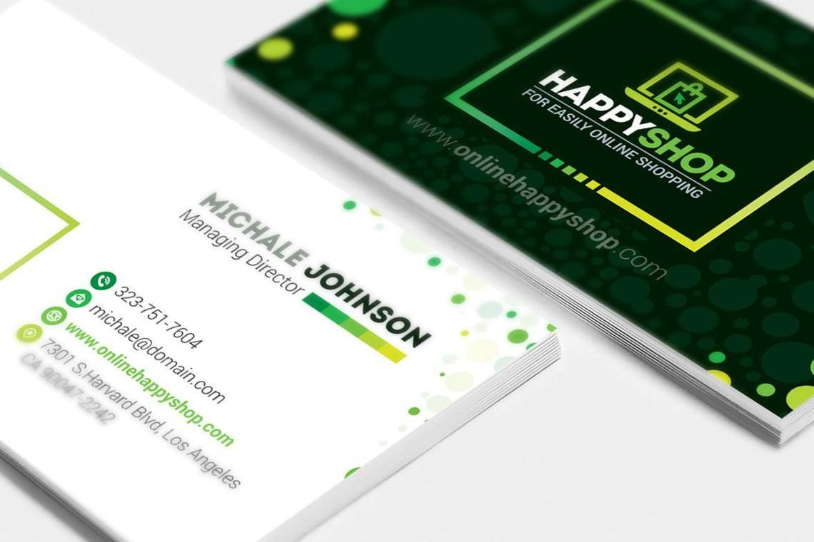 HappyShop - Business Card Template for E-Commerce Shop, スライド 2, 09004, ビジネス — PoweredTemplate.com