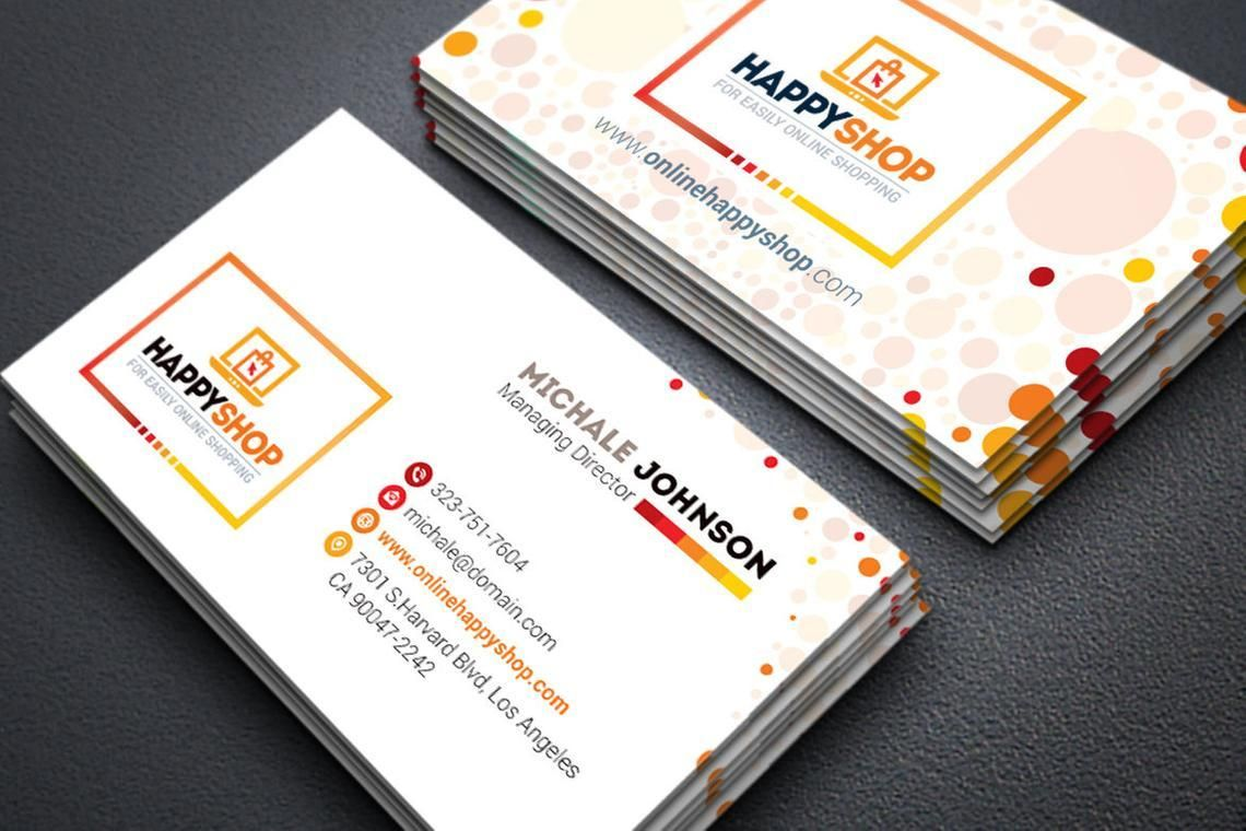 HappyShop - Business Card Template for E-Commerce Shop, スライド 3, 09004, ビジネス — PoweredTemplate.com