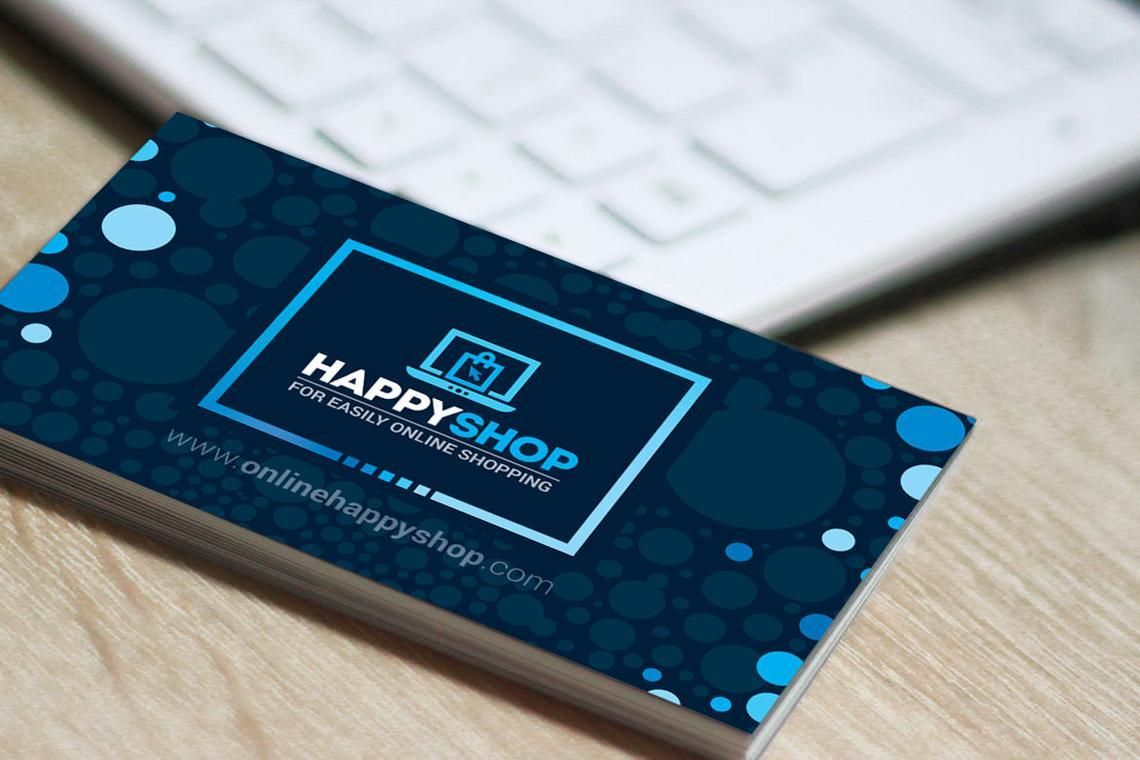 HappyShop - Business Card Template for E-Commerce Shop, スライド 4, 09004, ビジネス — PoweredTemplate.com
