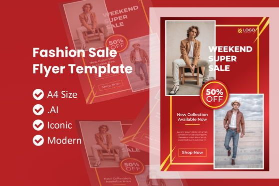 People: Chinese Fashion Sale Flyer Template #09010