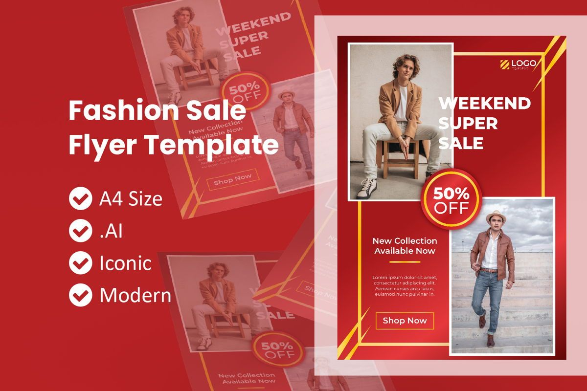 Chinese Fashion Sale Flyer Template, 09010, People — PoweredTemplate.com