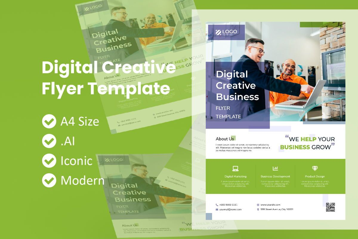 Digital Creative Business Flyer, 09012, Business — PoweredTemplate.com