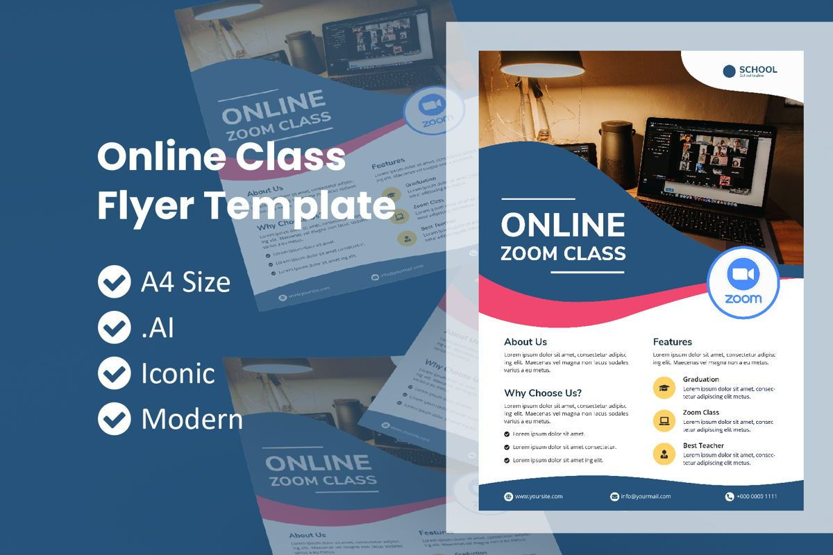 School Online Class Zoom Flyer, 09014, Education & Training — PoweredTemplate.com