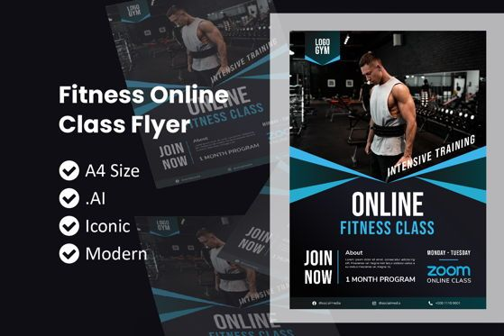 Education & Training: Fitness Flyer Zoom Class Template #09015
