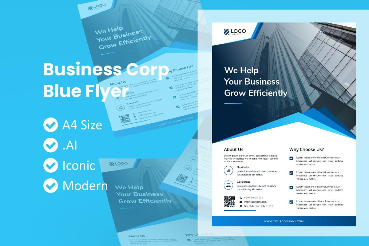 Corporate Blue Flyer Template, 09020, Business — PoweredTemplate.com