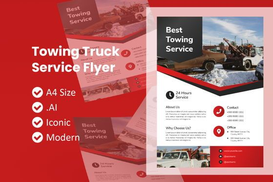 Cars/Transportation: Towing Truck Rental Brochure Templat #09026