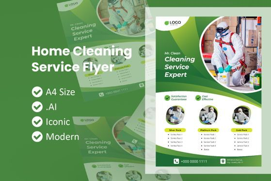 Nature & Environment: Home Cleaning Service Flyer Template #09028