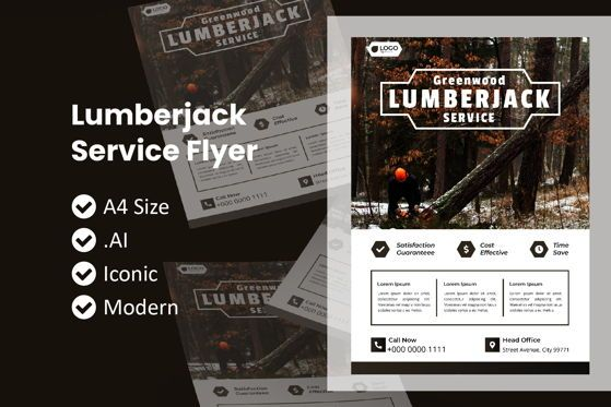 Nature & Environment: Lumberjack Service Brochure Template #09029