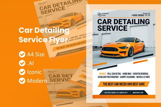 Cars/Transportation: Car Detailing Service Flyer Template #09037
