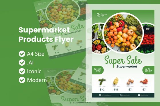 Food & Beverage: Supermarket Products Flyer Template #09041