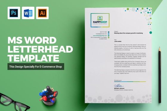Art & Entertainment: HappyShop Letterhead Template #09043