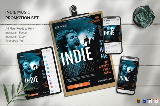 Art & Entertainment: Indie Music - Flyer Template #09057