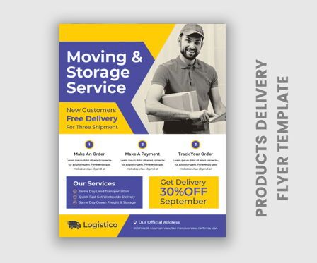 Business: Latest Door To Door Products Delivery Flyer Templates #09062