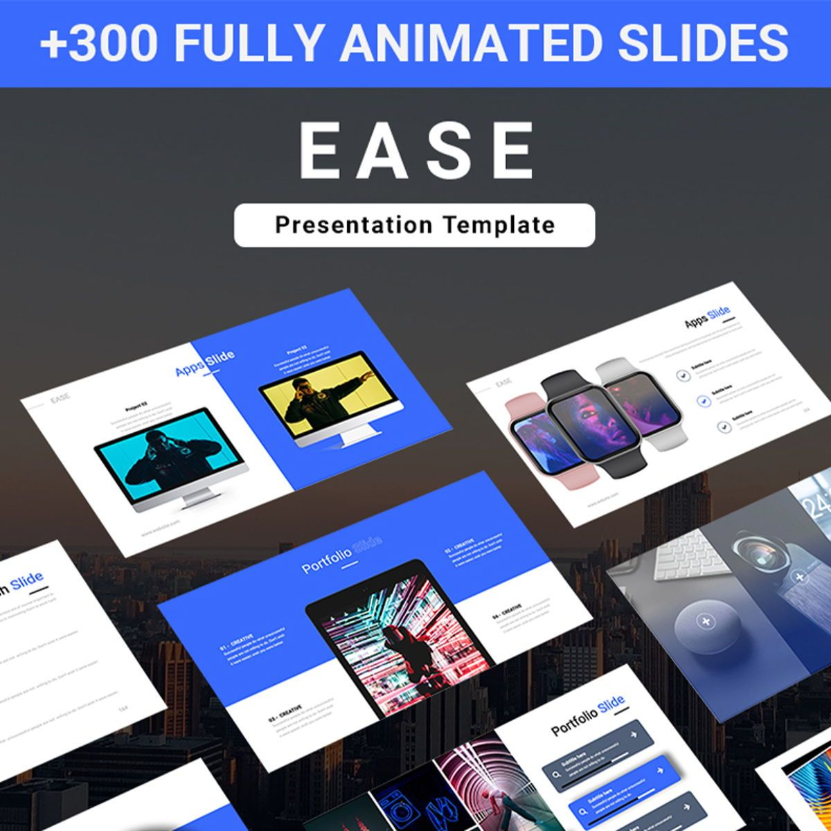 EASE Animated Multipurpose Keynote Presentation Template Blue Version, 08782, Business — PoweredTemplate.com