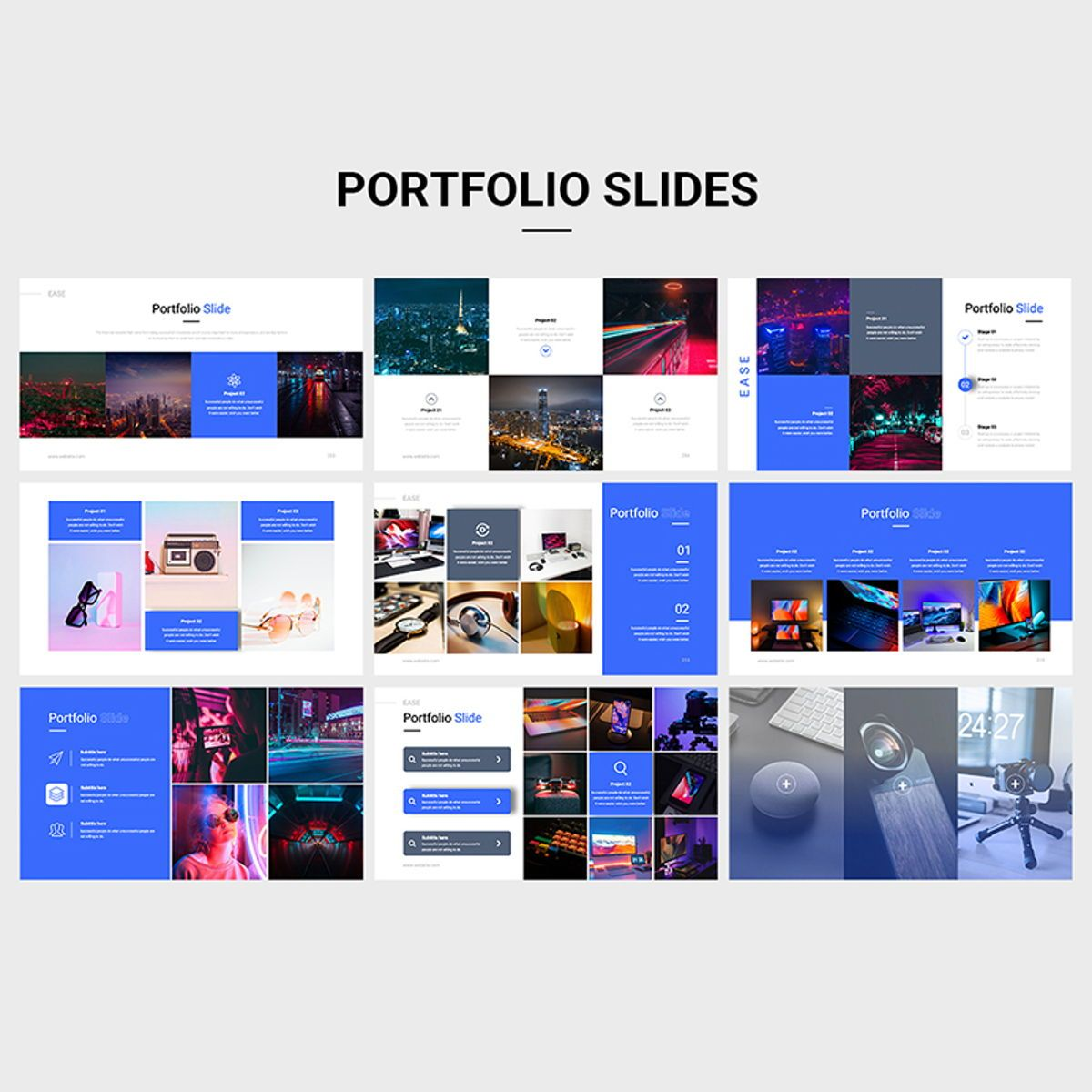 EASE Animated Multipurpose Keynote Presentation Template Blue Version, Slide 7, 08782, Business — PoweredTemplate.com