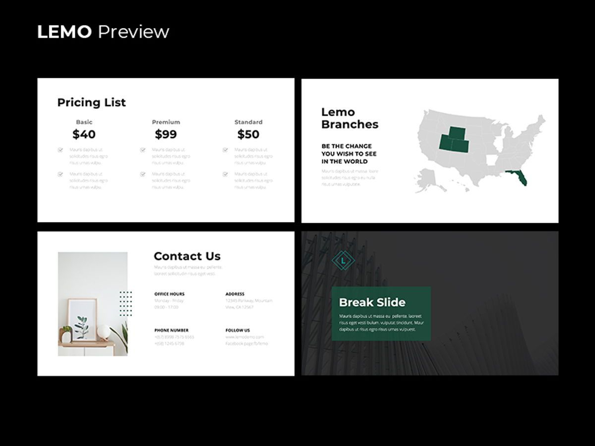 LEMO Minimal Powerpoint Template, Slide 14, 08785, Business — PoweredTemplate.com