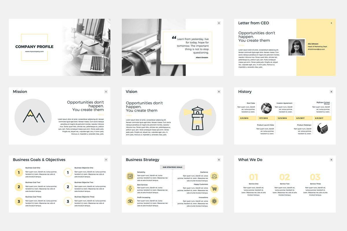 Company Profile Google Slides Presentation Template, Slide 2, 08791, Business — PoweredTemplate.com
