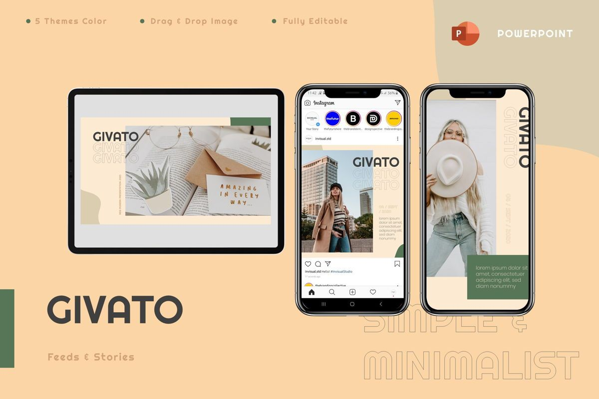 Givato - Powerpoint Template, 08800, Art & Entertainment — PoweredTemplate.com