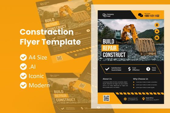 Construction: Business Construction Brochure Template #09098