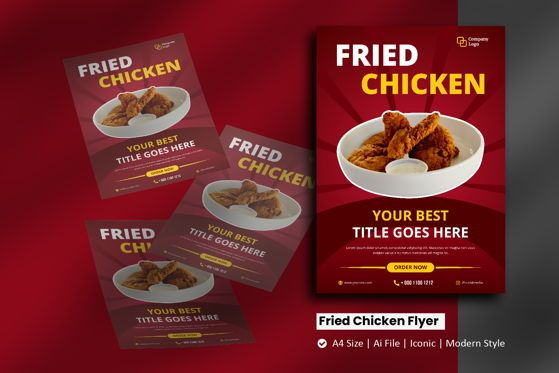 Food & Beverage: Fried Chicken Flyer Brochure Template #09101