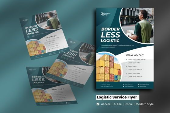 Cars/Transportation: Logistic Service Brochure Template #09102