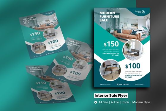 Nature & Environment: Interior Products Sale Brochure Template #09104