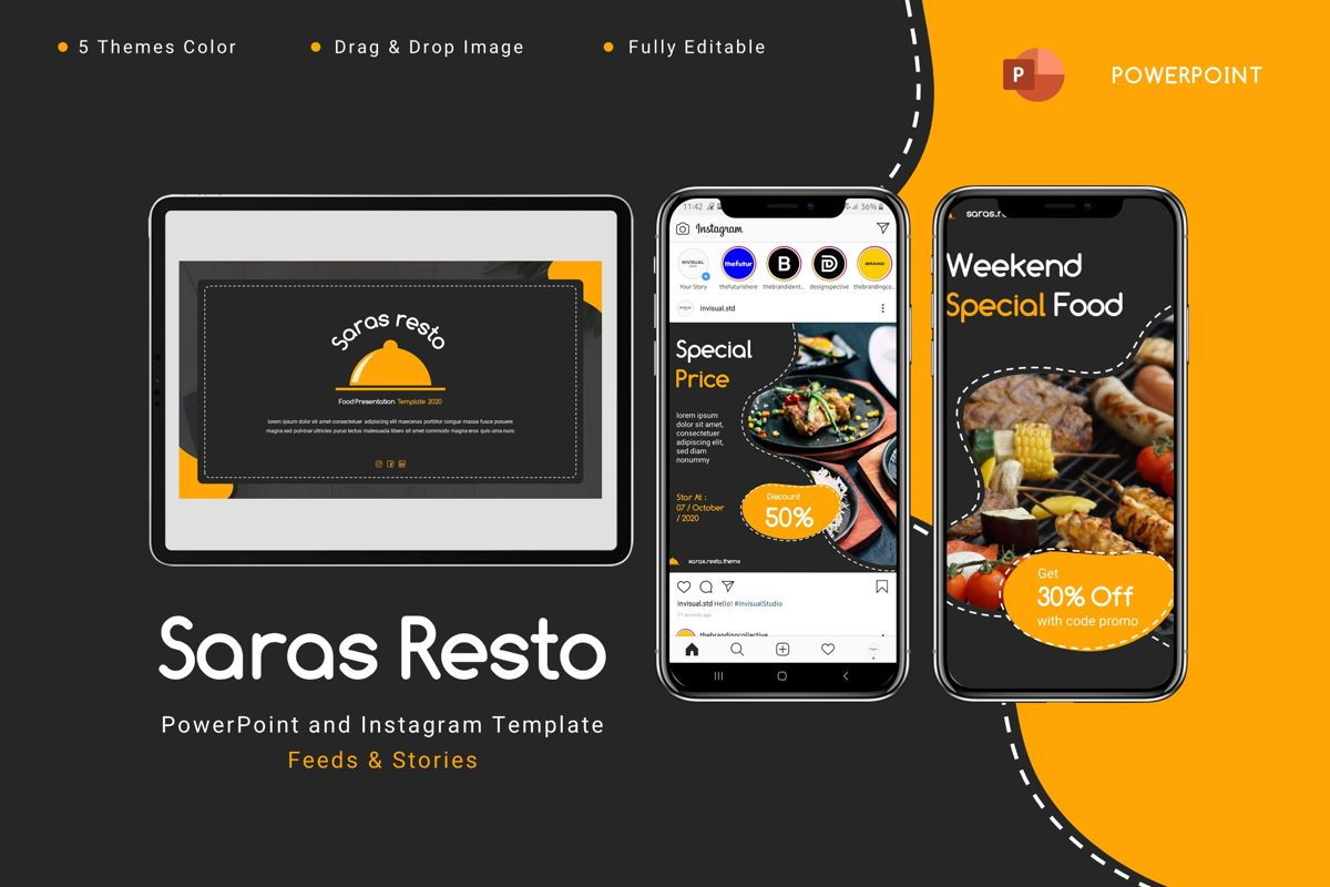 Saras - Powerpoint Template, 08809, Food & Beverage — PoweredTemplate.com