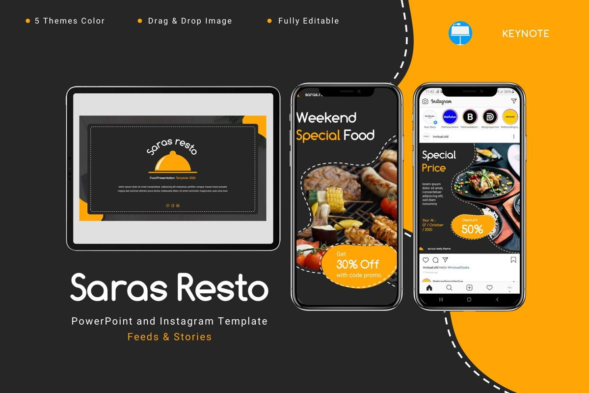 Saras - Keynote Template, 08810, Food & Beverage — PoweredTemplate.com