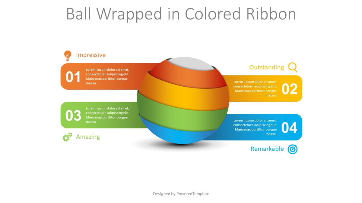Ball Wrapped in Colored Ribbon Infographic, 08813, 3D — PoweredTemplate.com