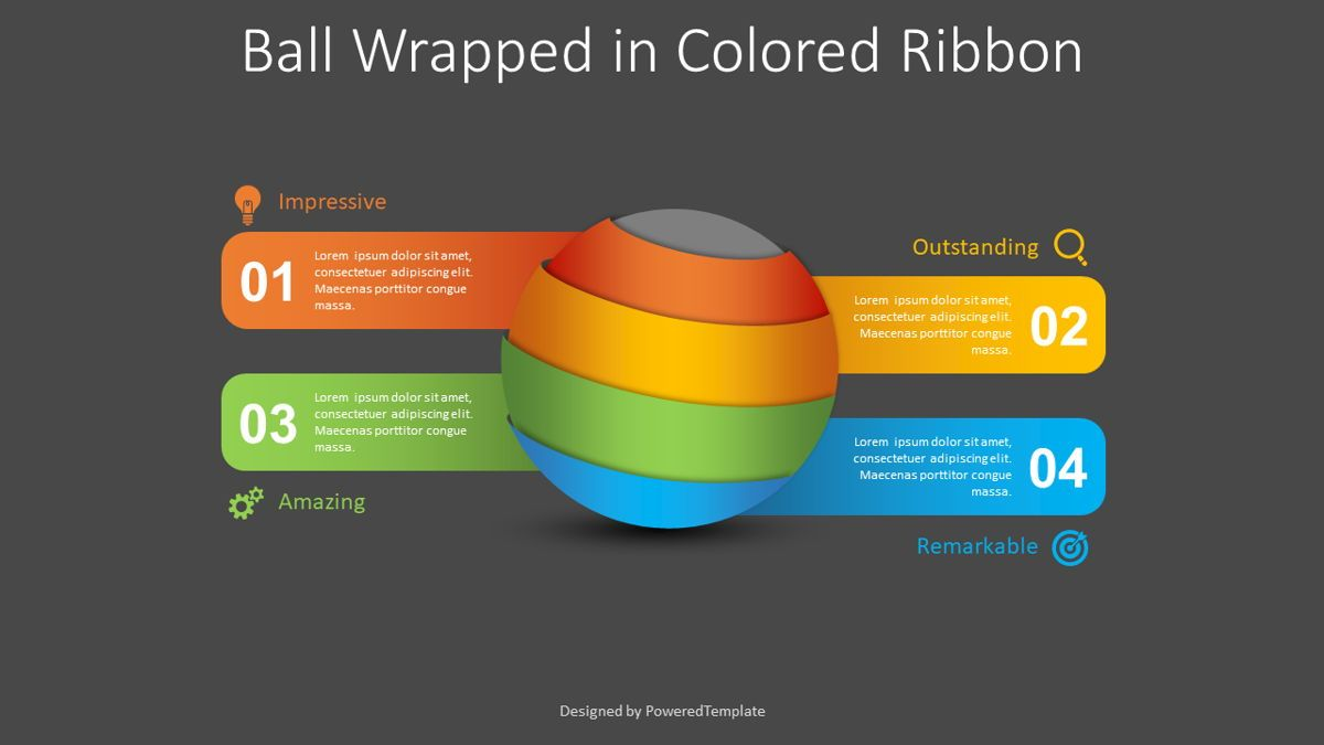 Ball Wrapped in Colored Ribbon Infographic, Slide 2, 08813, 3D — PoweredTemplate.com