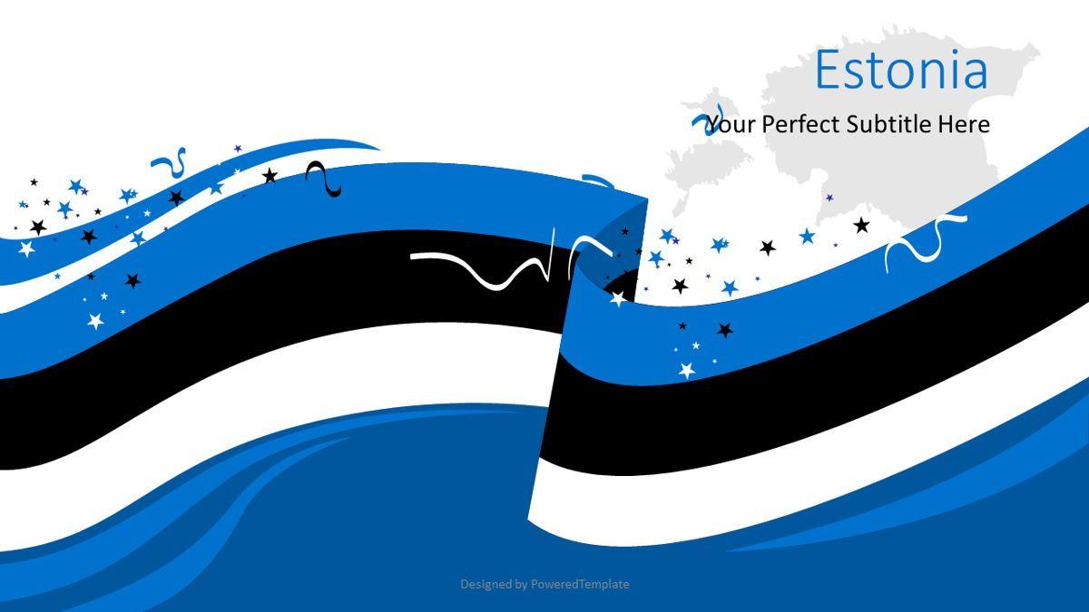 Festive Estonian Flag, 08818, Flags/International — PoweredTemplate.com